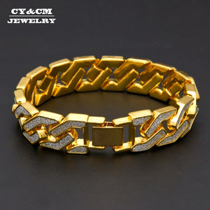 Sand Blast Bracelets Cuban Chain Link Alloy Iced Out Hip Hop Gold Silver Tone Heavy 16mm Mens Bling Bracelet for Men Women 8.6""