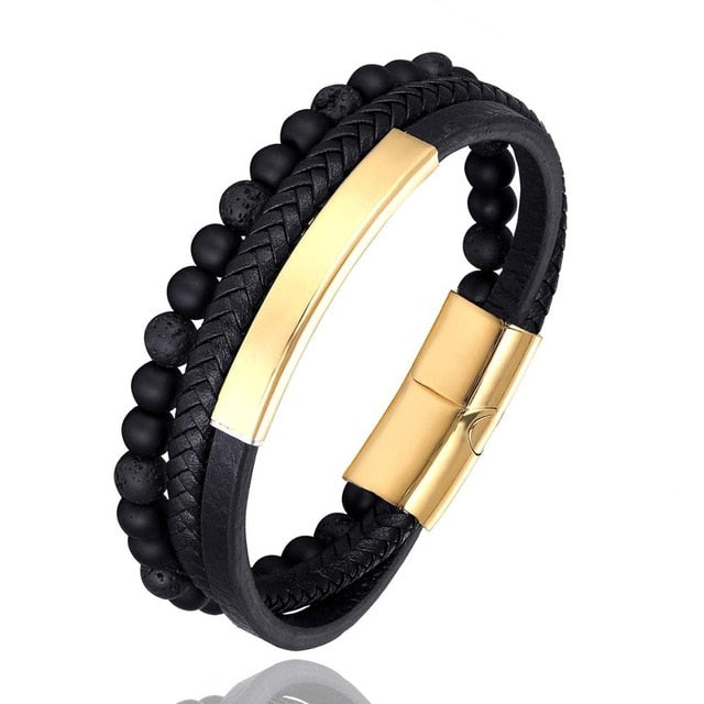 Fashion Male Jewelry Braided Leather Bracelet Tiger ee Beads Bracelet Black Stainless Steel Magnetic Clasps Men Wrist Gifts