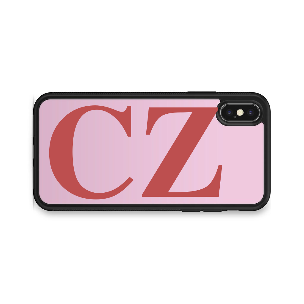 VERTICAL ENORMOUS INITIALS PINK BACKGROUND CASE