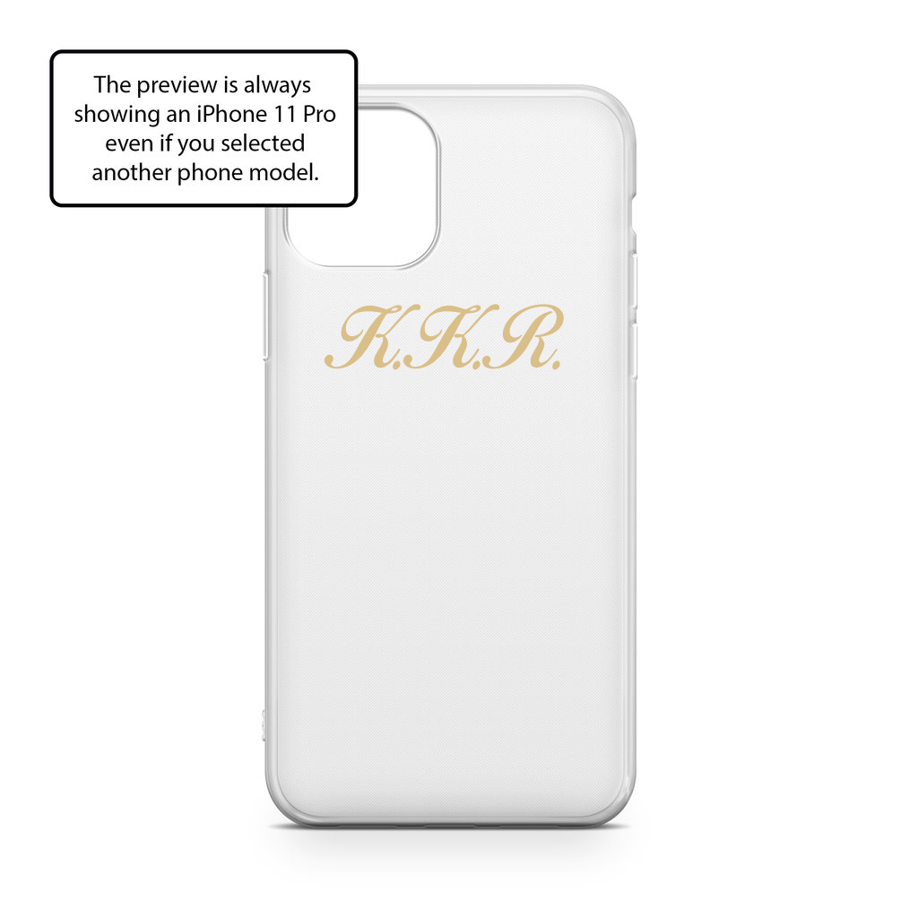 CLEAR SOFT CASE WITH GOLDEN SCRIPT INITIALS