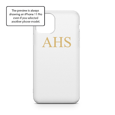CLEAR SOFT CASE WITH GOLDEN INITIALS