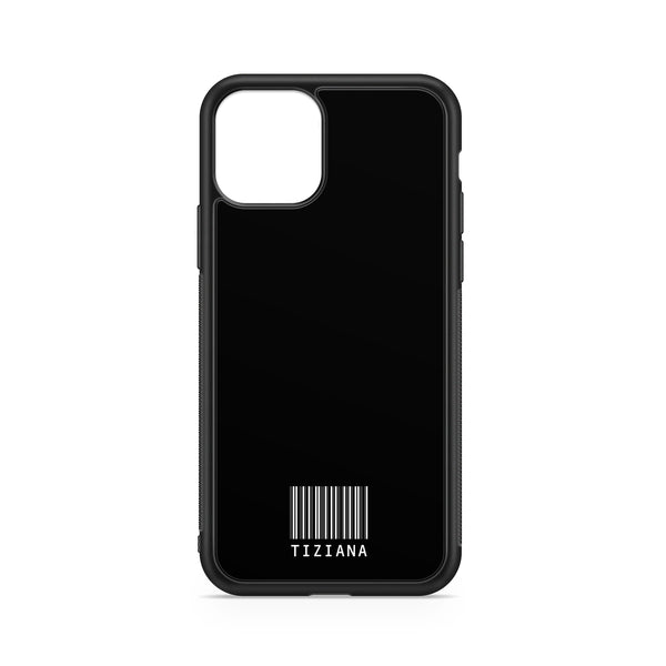 WHITE BARCODE NAME BLACK BACKGROUND CASE