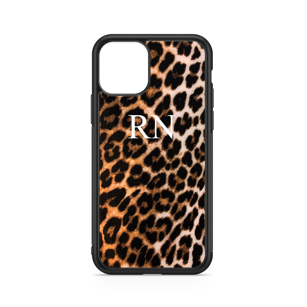 CLASSICAL INITIALS ON BROWN LEOPARD CASE