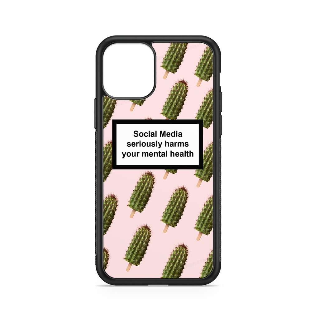 SOCIAL MEDIA WARNING MESSAGE ICE-CREAM CACTUS PINK CASE