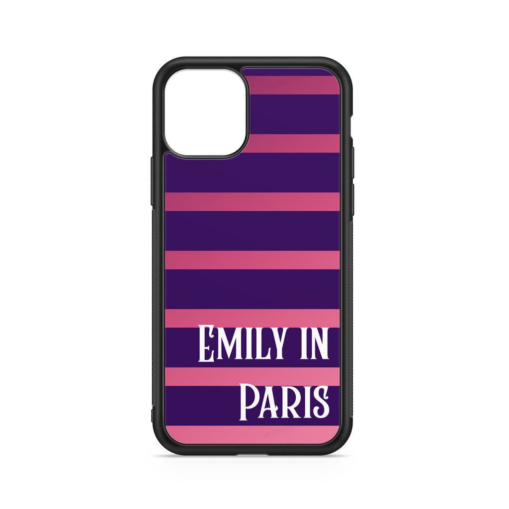 """EMILY IN PARIS"" CUSTOMIZABLE CASE PINK AND PURPLE LINES BACKGROUND"