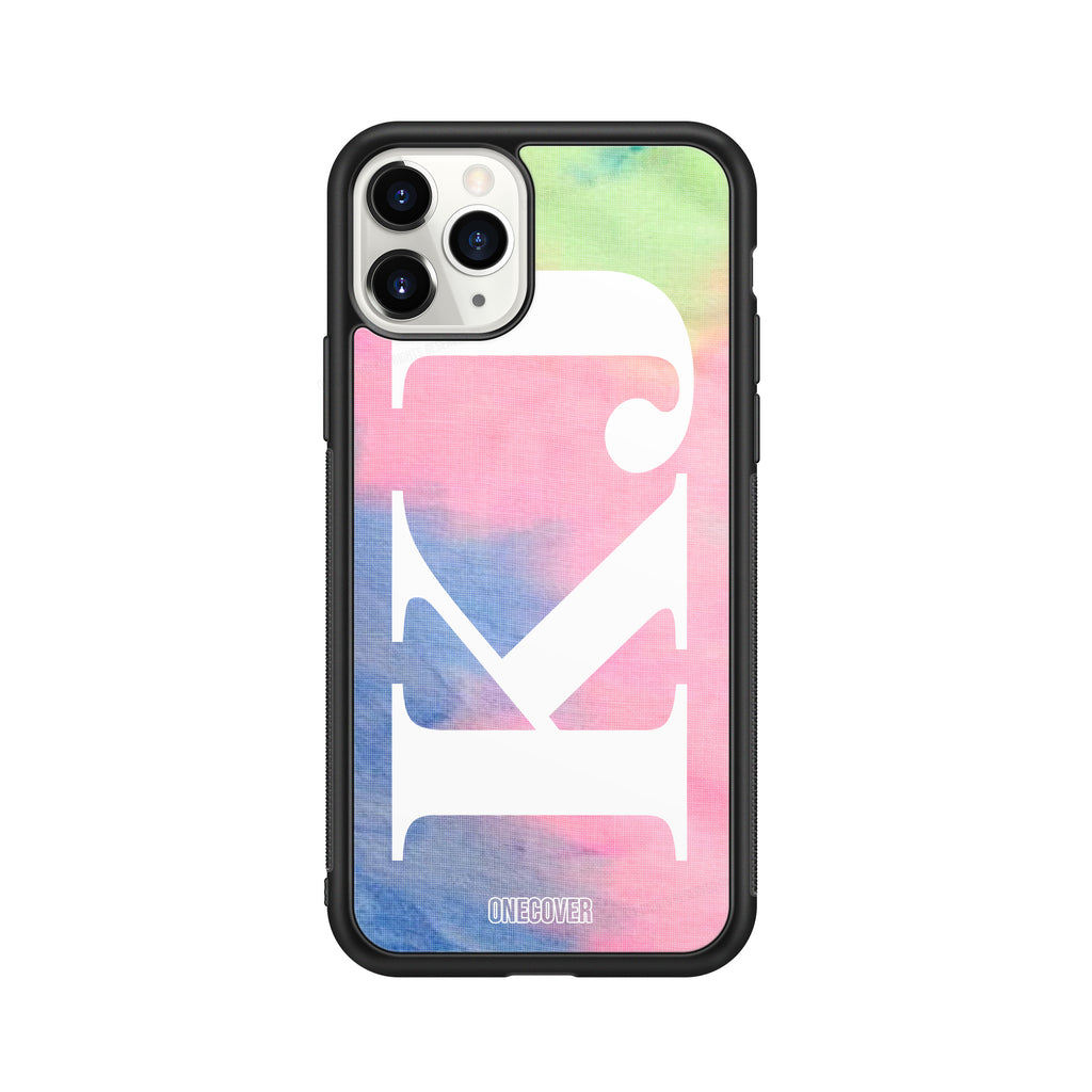"TIE DYE FANTASY ""A"" WITH VERTICAL ENORMOUS INITIALS PHONE CASE"