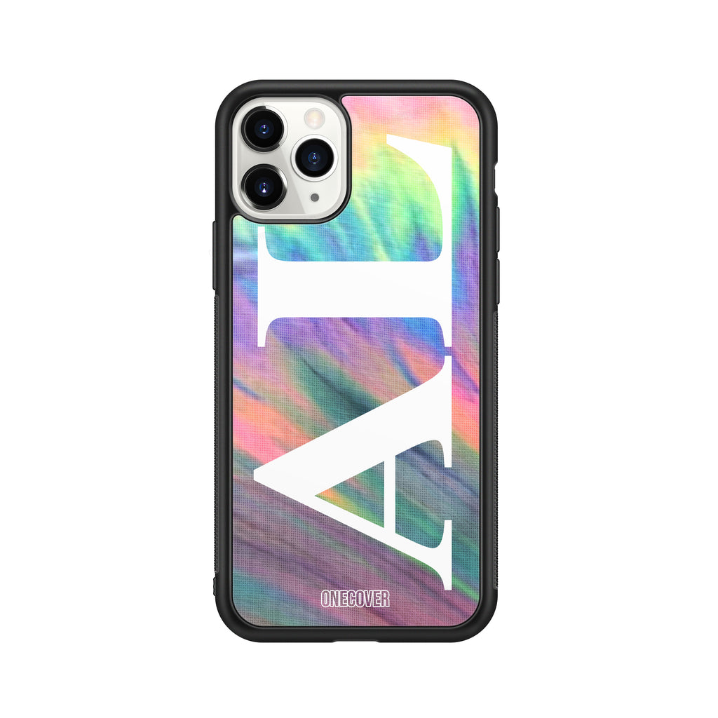 "TIE DYE FANTASY ""D"" WITH VERTICAL ENORMOUS INITIALS PHONE CASE"