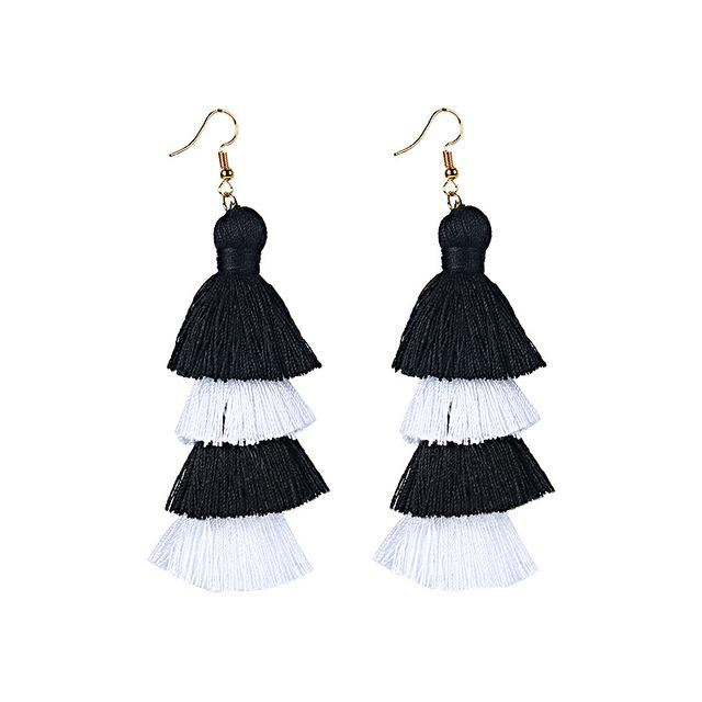 Black White Layered Earrings