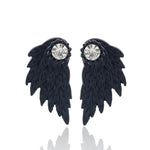Black Angel Wings Stud Earrings