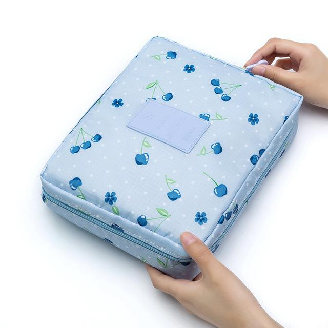 Blue Cherry Waterproof Cosmetic Bag