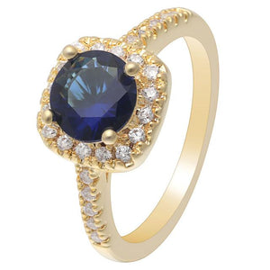Blue Gold Cubic Zirconia Ring