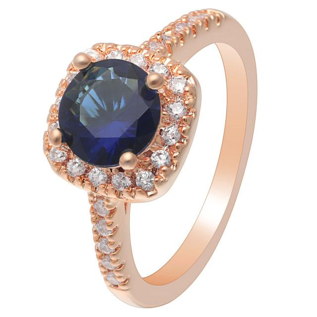 Blue Rose Gold Cubic Zirconia Ring
