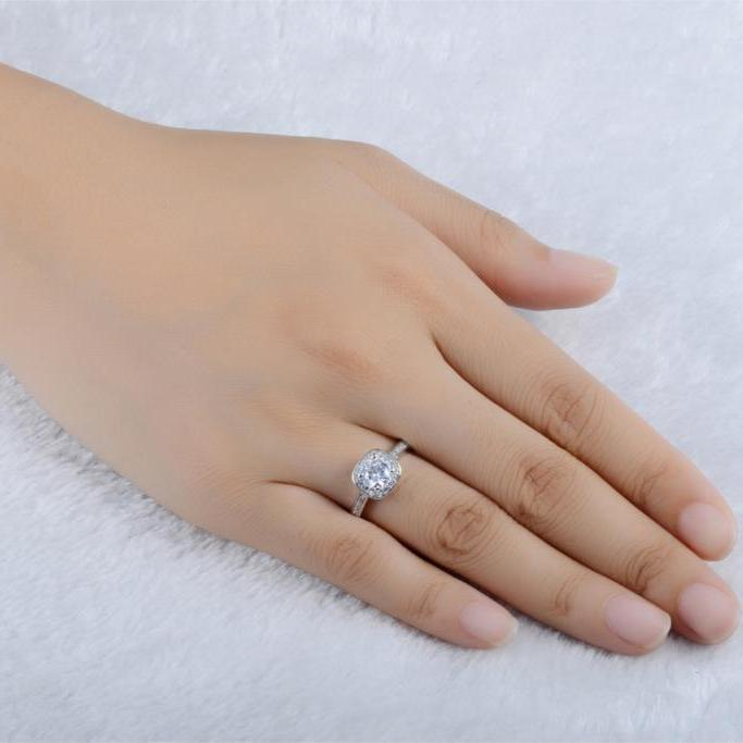 Cubic Zirconia Ring On Ring Finger