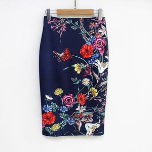 Flowers Navy Floral Pencil Skirt
