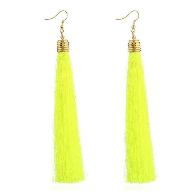 Fluorescent Yellow Tassel Earrings