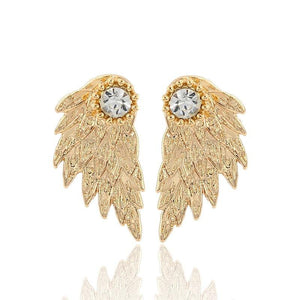 Gold Angel Wings Stud Earrings