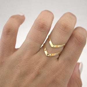 Gold Chevron Ring On Finger