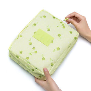 Green Cherry Waterproof Cosmetic Bag