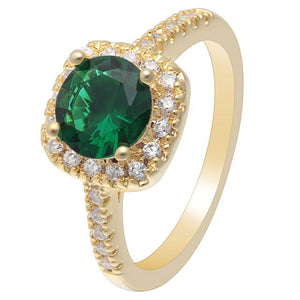 Green Gold Cubic Zirconia Ring