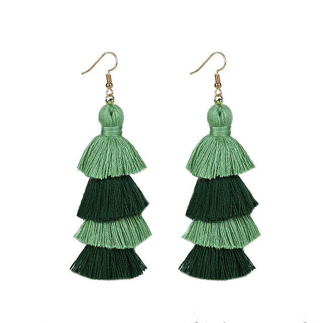 Green Layered Earrings