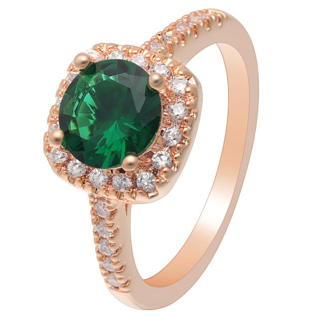 Green Rose Gold Cubic Zirconia Ring