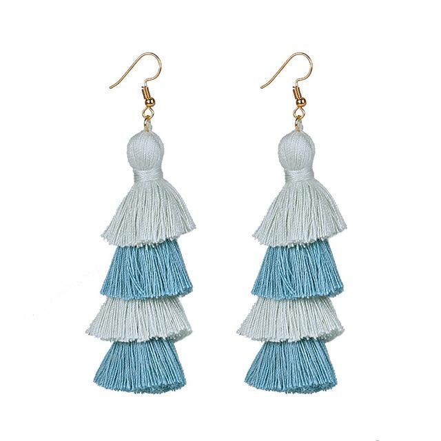 Light Blue Layered Earrings