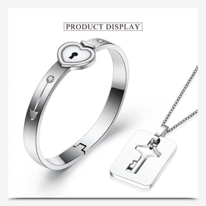 Heart Lock Key Bracelet Pendant For Couples