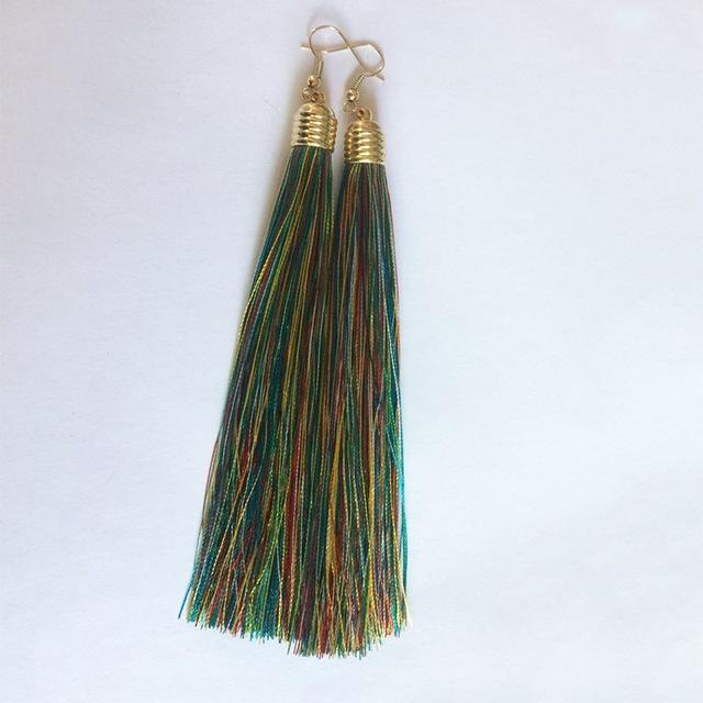 Multi Colour Tassel Earrings