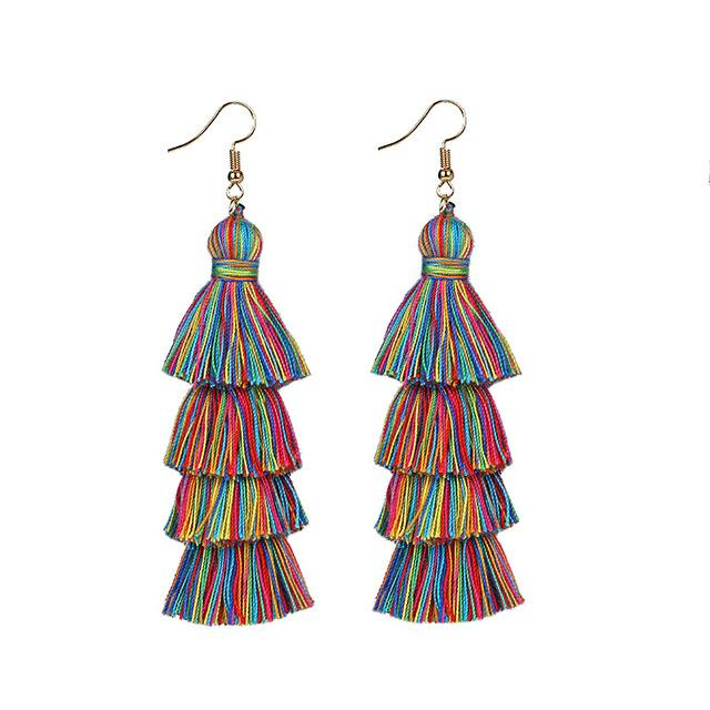 Multicolor Rainbow Layered Earrings