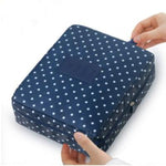 Navy Dot Waterproof Cosmetic Bag