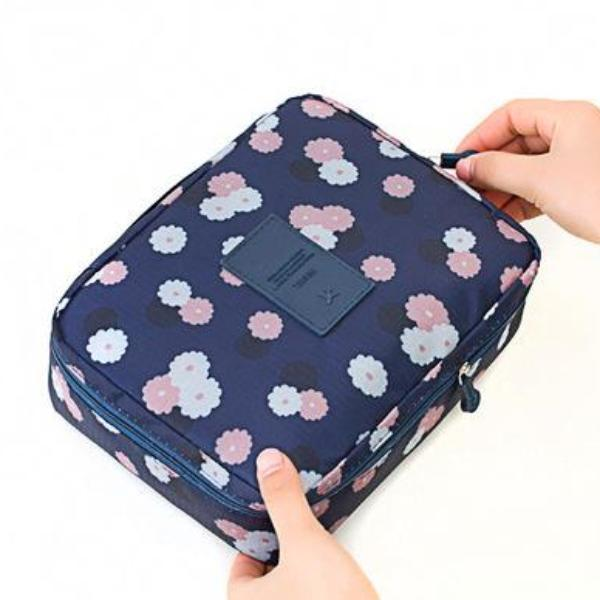 Navy Plum Waterproof Cosmetic Bag