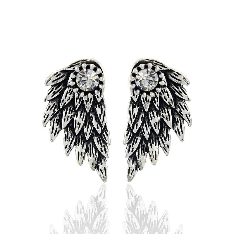 Old Silver Angel Wings Stud Earrings