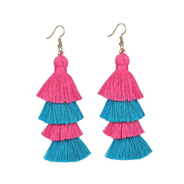 Pink Blue Layered Earrings