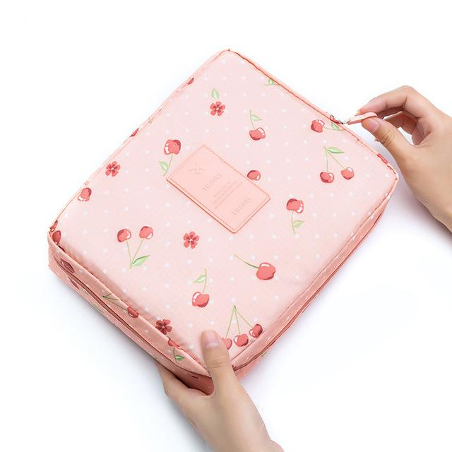 Pink Cherry Waterproof Cosmetic Bag
