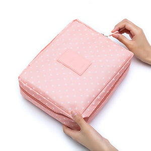 Pink Dot Waterproof Cosmetic Bag