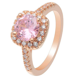 Pink Rose Gold Cubic Zirconia Ring