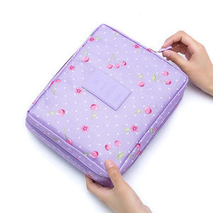 Purple Cherry Waterproof Cosmetic Bag