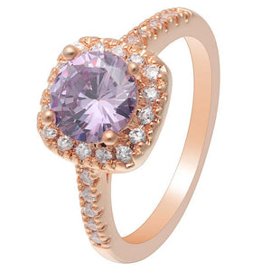 Purple Rose Gold Cubic Zirconia Ring
