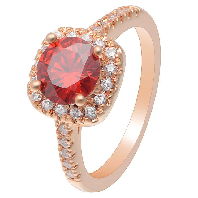 Red Rose Gold Cubic Zirconia Ring