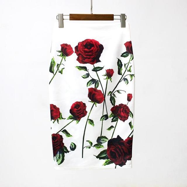 Red Roses White Floral Pencil Skirt