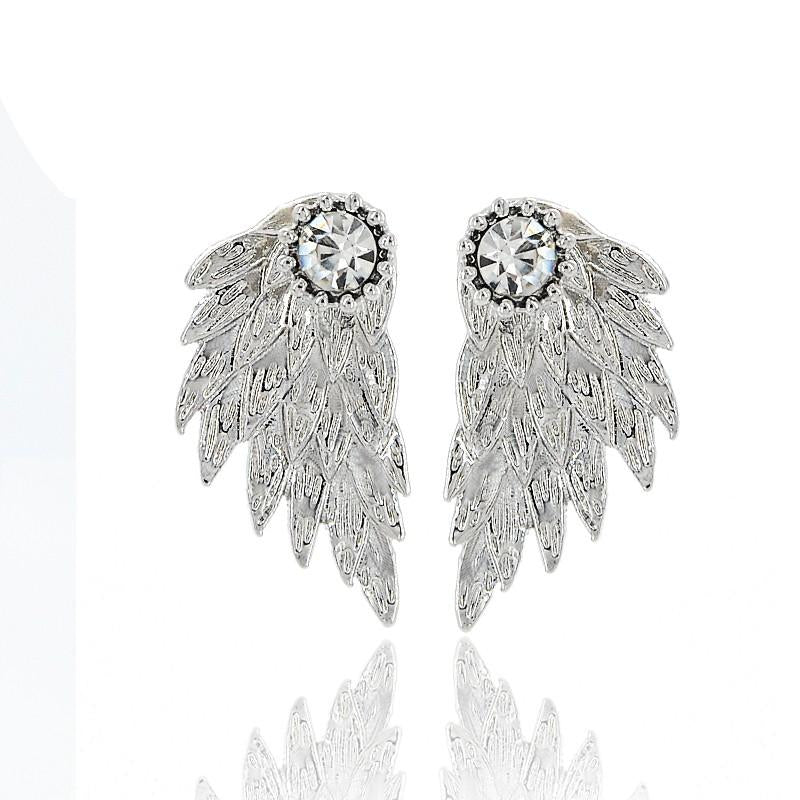 Silver Angel Wings Stud Earrings
