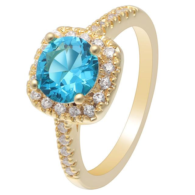 Sky Blue Gold Cubic Zirconia Ring