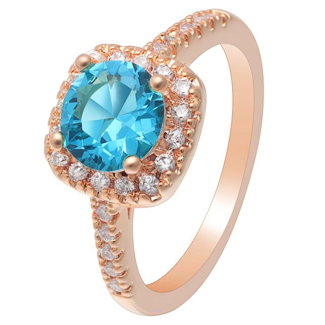 Sky Blue Rose Gold Cubic Zirconia Ring