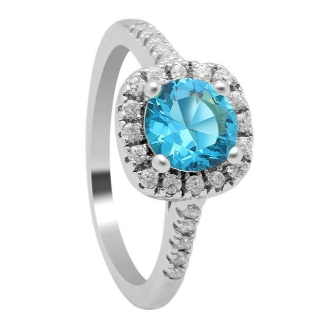 Sky Blue Silver Cubic Zirconia Ring