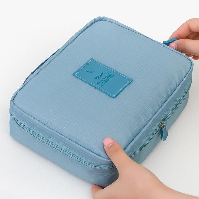 Sky Blue Waterproof Cosmetic Bag