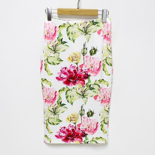 White Floral Pencil Skirt