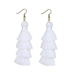 White Layered Earrings