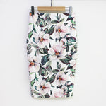 White Petals Floral Pencil Skirt