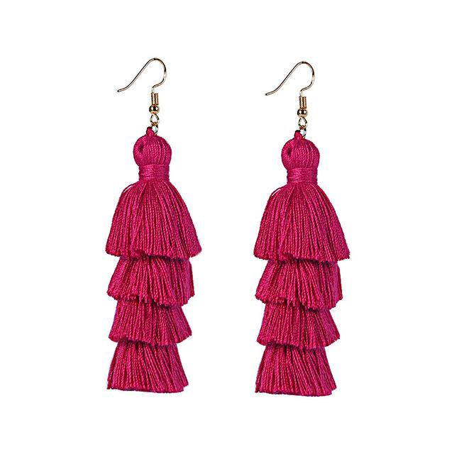 Wine Red Layered Earrings