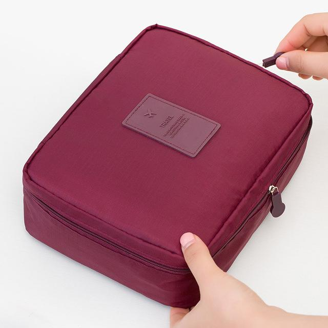Wine Red Waterproof Cosmetic Bag